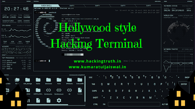 hollywood style hacking terminal in linux