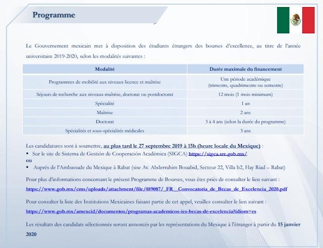Bourses du Gouvernement Mexicain pour l'année académique 2020