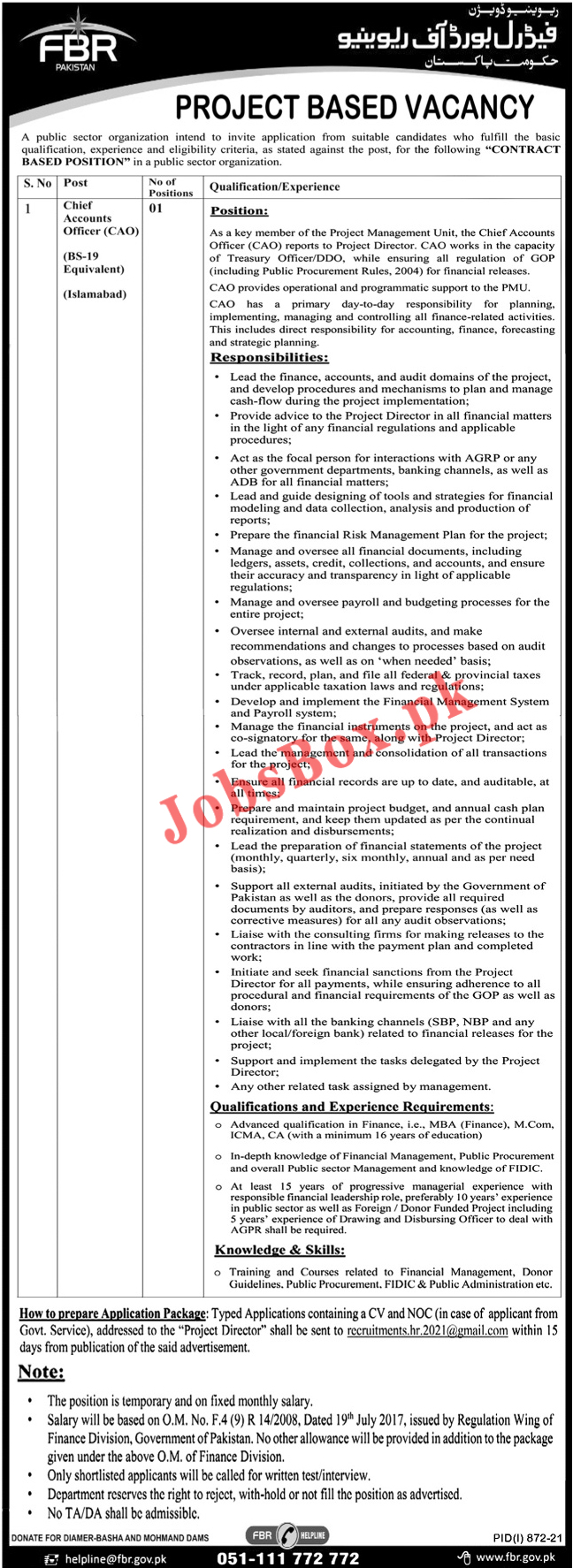 recruitments.hr.2021@gmail.com - Federal Board of Revenue FBR Jobs 2021 in Pakistan