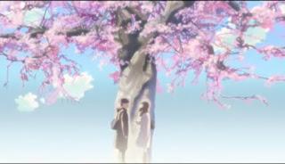 5 Centimeters per Second Takaki dan Akari di bawah pohon sakura yang bersalju