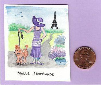 miniature, original art, watercolour, painting, dollhouse scale, French, Paris, 1920 woman, fashion, poodle, dog,
