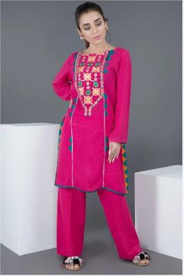 Warda Embroidered single shirt solid silk karandi pink color