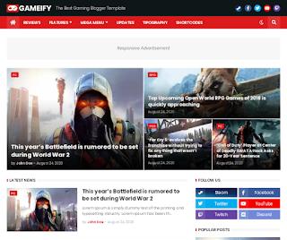 Gameify - Premium Blog & Magazine Gaming Blogger Template