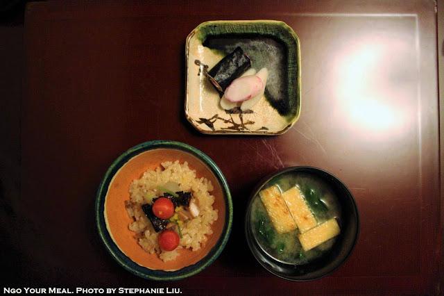 Yellowtail, Burdock, Radish, and Carrots over Rice at Ginza Kojyu in Tokyo, Japan