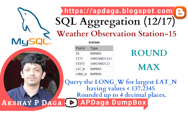 HackerRank: [SQL Aggregation - 12/17] Weather Observation Station-15 | ROUND, MAX function in SQL