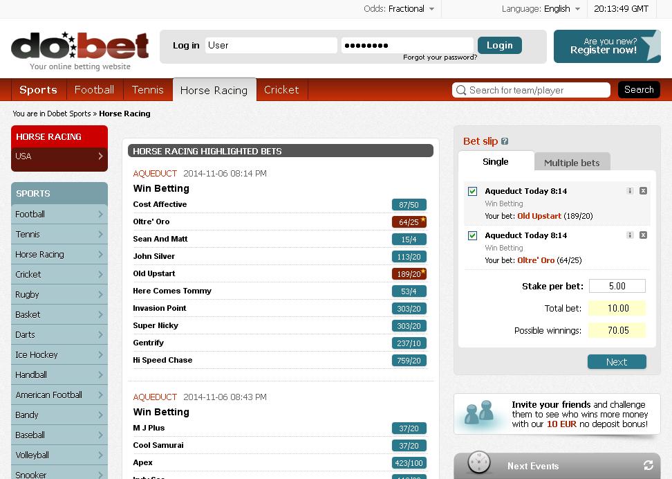 Dobet Horse Racing Screen