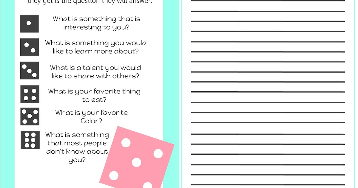 Life's Journey To Perfection: Getting to Know You Dice Game Printable