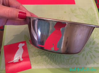 Personalized dog bowl with Cricut vinyl