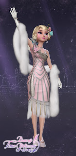 A pink and silver jazz age flapper dress with beads and a long white boa