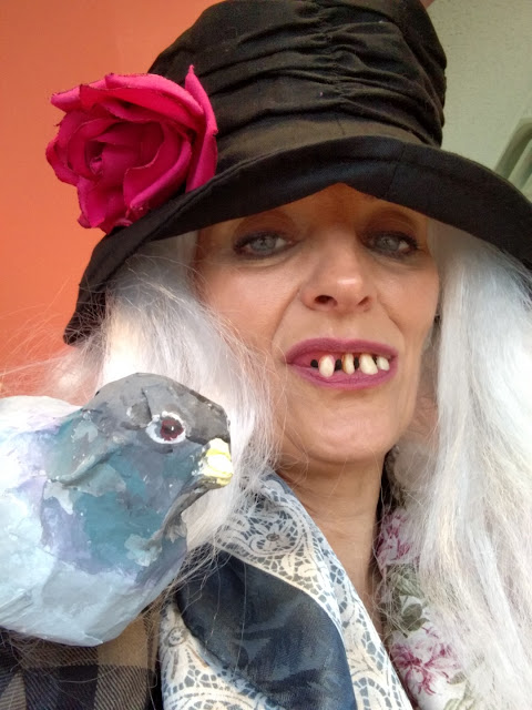 bag lady costume with pigeon