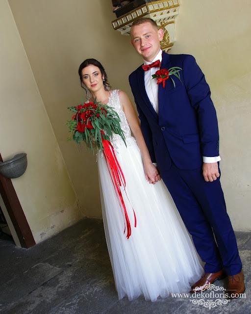 Czerwone róże bukiet ślubny opolskie