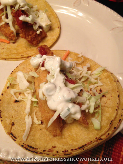Potato Chip Crusted Tilapia Tacos with Tomato Relish and Tangy Green Onion Sour Cream (2)