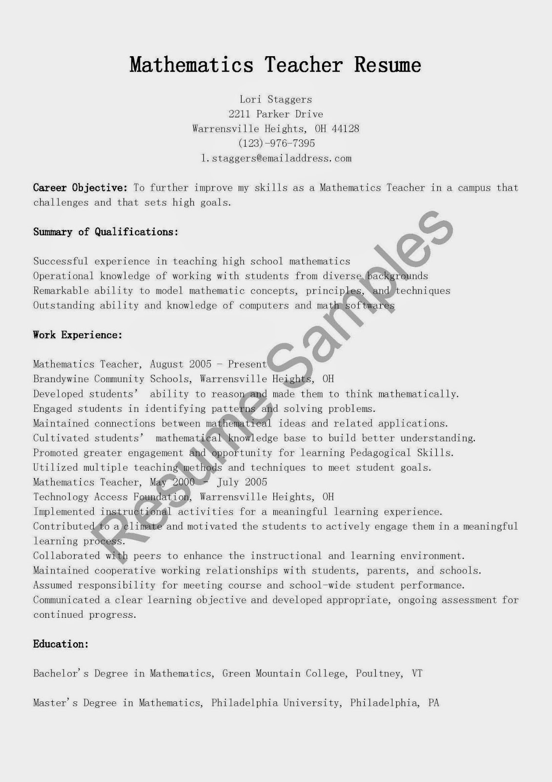 resume samples  mathematics teacher resume sample