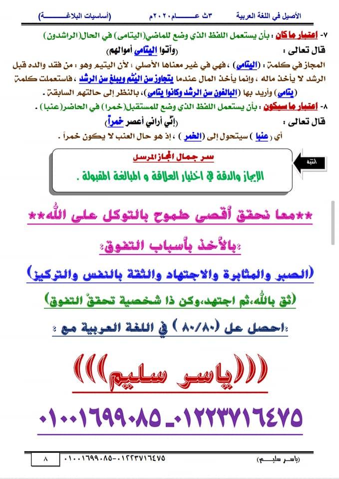 أساسيات البلاغة للثانوية العامة في١٥ورقة أ/ ياسر سليم 8