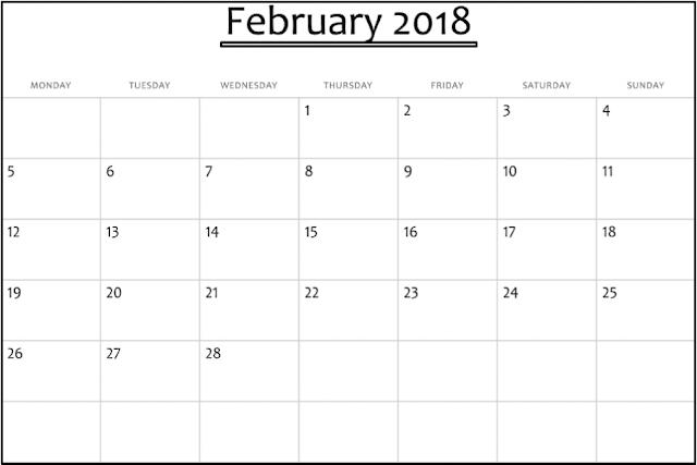 February 2018 Calendar, February 2018 Printable Calendar, February 2018 Calendar Printable, February 2018 Calendar Template, February 2018 Blank Calendar