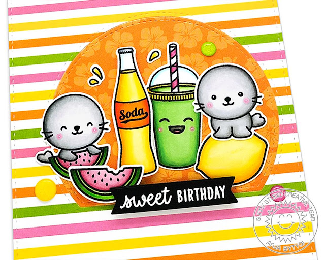 Sunny Studio Stamps: Stitched Semi-Circle Dies Fresh & Fruity Summer Sweet Sealiously Sweet Birthday Card by Anja Bytyqi