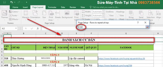 Cách in tiêu đề giống nhau tất cả các trang trong Excel 2016
