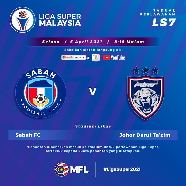Live Streaming Sabah vs JDT Liga Super 6.4.2021