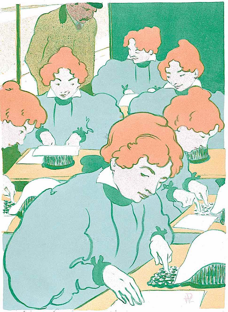 an R.G. Hermann-Paul illustration of identical women typing up copies at work