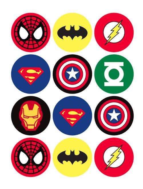 Toppers para cupcakes de superhéroe