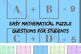 Easy Mathematical Puzzle Questions with Answers for students