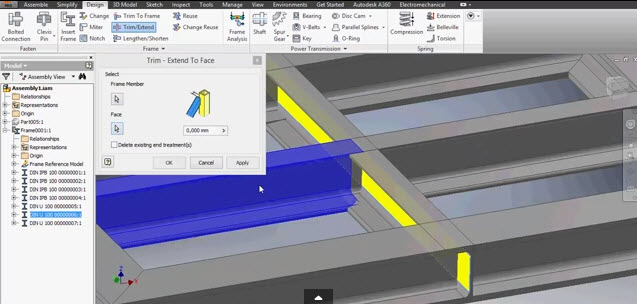 how to use the frame generator in inventor 2016