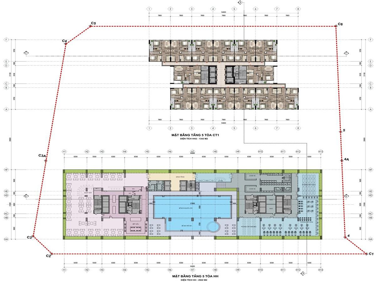 Mặt bằng tầng 5 tòa HH dự án nhà ở xã hội bộ công an