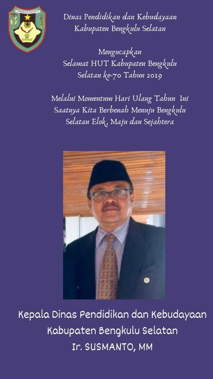 Ucapan HUT Kabupaten Bengkulu Selatan Ke 70 Tahun 2019