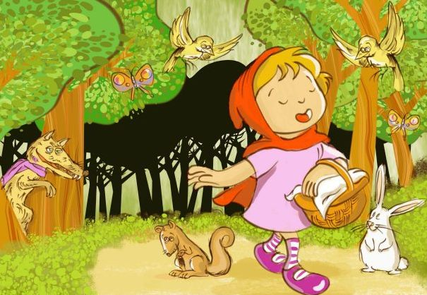 Caperucita Ropa pasando por el Bosque y el lobo observándola
