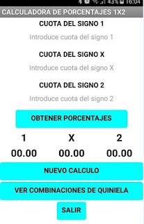 Calculadora de porcentajes 1X2