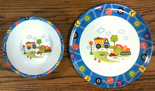 Construction theme Kids Dishes -- Plate u0026 Bowl set & Treasure Box . . . . . 881-6463: Construction theme Kids Dishes ...