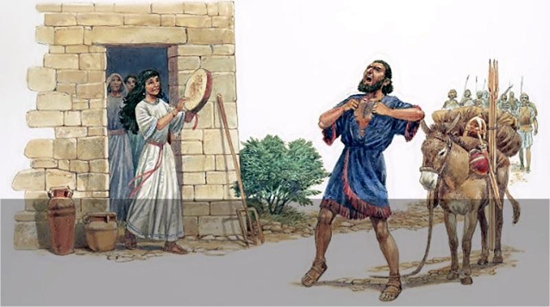 A filha de Jefté sai ao encontro do pai em seu retorno da batalha e Jefté rasga suas vestes por conta do voto que fez a Deus