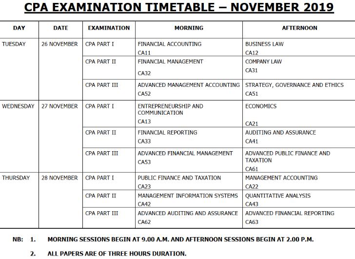 KASNEB November 2019 Examinations Timetables: CAMS