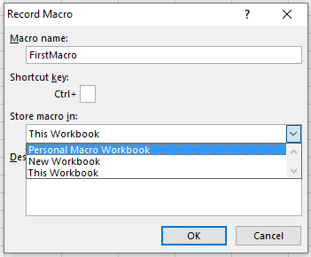 Select Personal Macro Workbook from the dropdown
