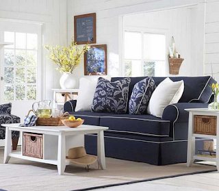 baers Broyhill Emily Queen Blue Sofa