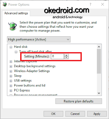 Power Options > Advanced Settings Windows 10
