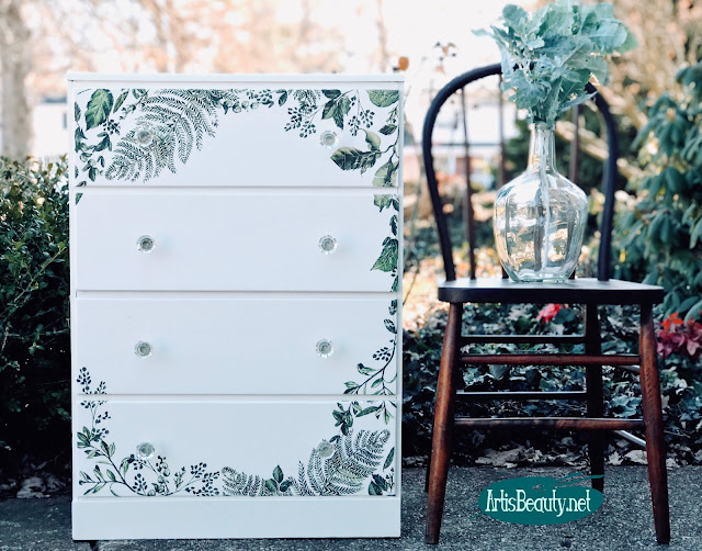 Vintage small dresser makeover using General Finishes Milk paint and Redesign by Prima Fern Transfer DIY Rub on before and after