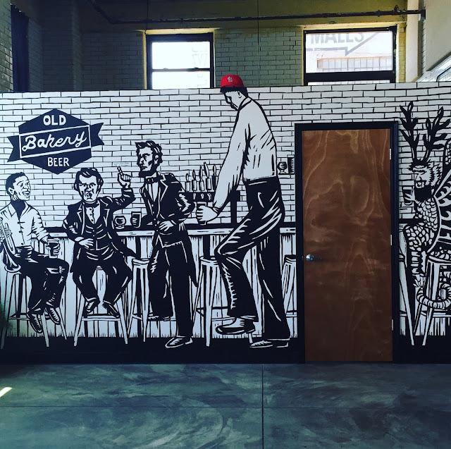 Abraham Lincoln, Stephen Douglas, Miles Davis, Robert Wadlow and the Piasa Bird settle at the bar at Old Bakery Beer Co