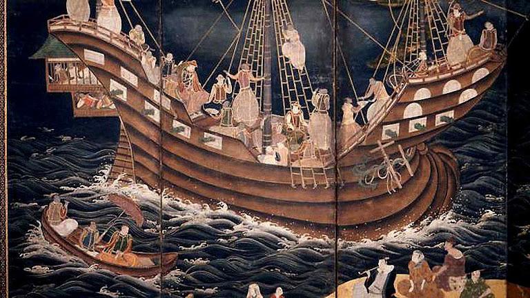 Chegada de nau portuguesa a Nagasaki, introduzindo o cristianismo
