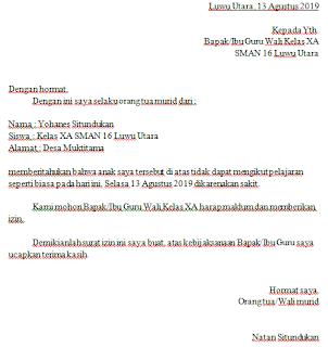 Contoh Surat Izin Sekolah Karena Sakit Untuk SD, SMP, dan SMA