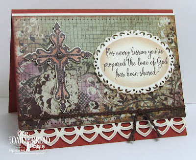 ODBD Sunday School Teacher, ODBD Custom Crosses Dies, ODBD Custom Ornate Ovals Dies, ODBD Custom Deco Border Die, Artistic Outpost Vagabond Treasures Paper Collection, Card Designed by Angie Crockett