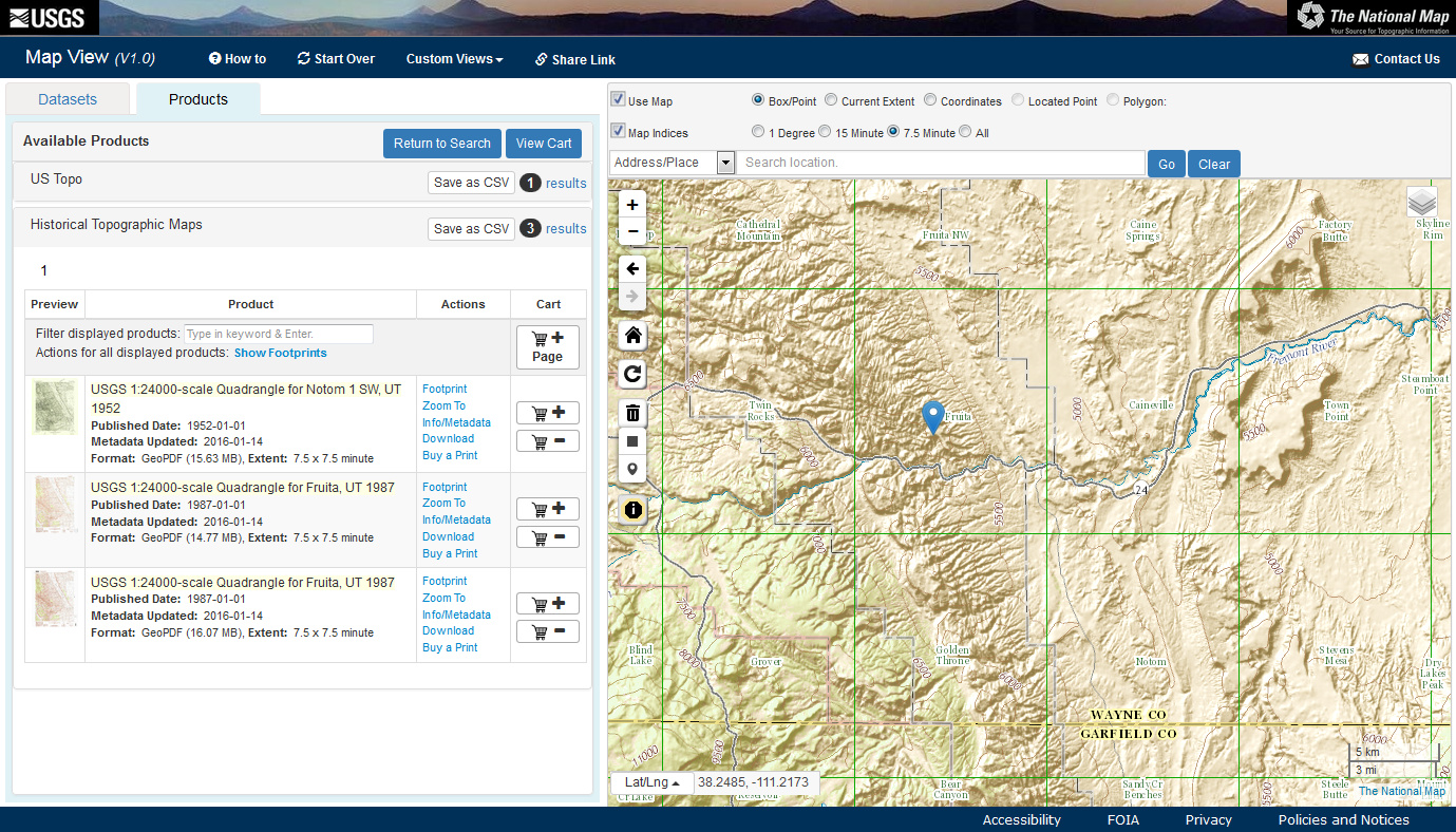 in this example i selected the fruita quadrangle in capitol reef national park dropped the point and found four product options including one map from