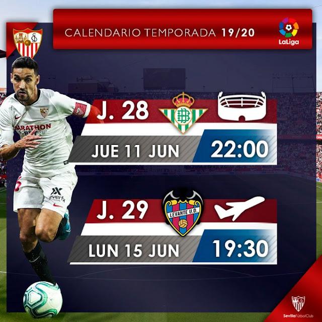 OFICIAL | El Sevilla FC ya conoce los horarios de las dos próximas jornadas de LaLiga
