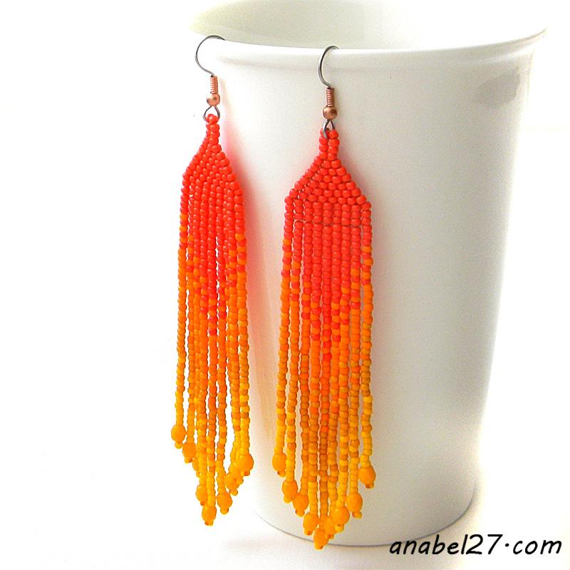 Серьги из бисера купить оранжевые сережки ручной работы