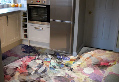 kitchen 3D floor art with epoxy flooring paint