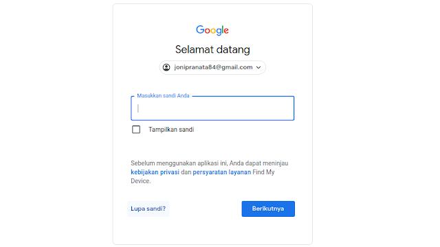 Masukkan password email