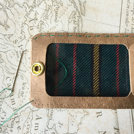 Easy Stitching Prepared by Cameo for DIY Luggage Tag.  Tutorial by Nadine Muir for Silhouette UK using faux leather paper and tartan