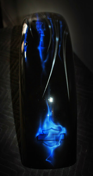 Online Motorcycle Paint Silver Tribal Flames With