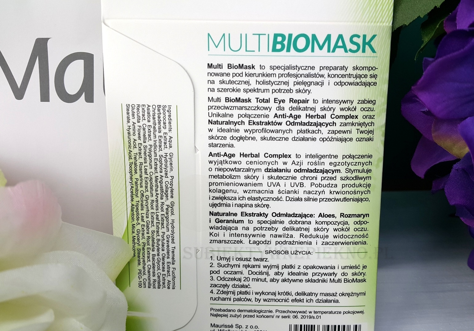 odmładzające płatki pod oczy Multi Biomask działanie i sposób użycia