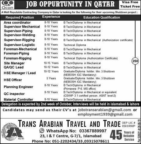 Multiple Jobs in Qatar (Overseas) Oct 2019